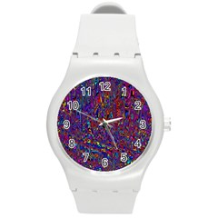 Modern Abstract 45a Round Plastic Sport Watch (m) by MoreColorsinLife