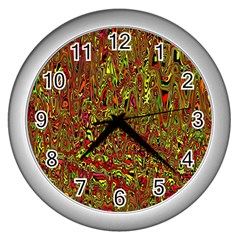 Modern Abstract 45c Wall Clocks (silver)  by MoreColorsinLife