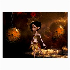 Steampunk, Cute Little Steampunk Girl In The Night With Clocks Large Glasses Cloth (2 Side) by FantasyWorld7