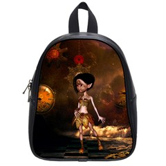 Steampunk, Cute Little Steampunk Girl In The Night With Clocks School Bag (small) by FantasyWorld7