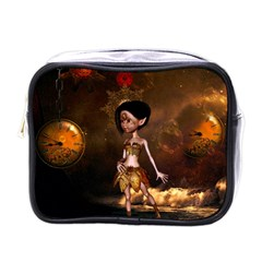 Steampunk, Cute Little Steampunk Girl In The Night With Clocks Mini Toiletries Bags by FantasyWorld7