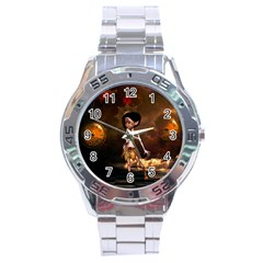 Steampunk, Cute Little Steampunk Girl In The Night With Clocks Stainless Steel Analogue Watch by FantasyWorld7