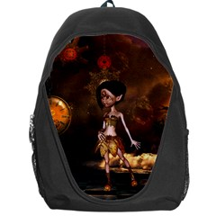 Steampunk, Cute Little Steampunk Girl In The Night With Clocks Backpack Bag by FantasyWorld7