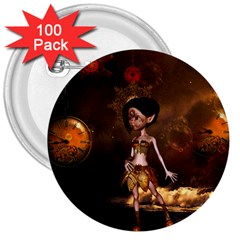 Steampunk, Cute Little Steampunk Girl In The Night With Clocks 3  Buttons (100 Pack)  by FantasyWorld7