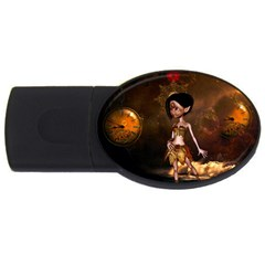 Steampunk, Cute Little Steampunk Girl In The Night With Clocks Usb Flash Drive Oval (2 Gb) by FantasyWorld7