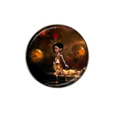 Steampunk, Cute Little Steampunk Girl In The Night With Clocks Hat Clip Ball Marker by FantasyWorld7