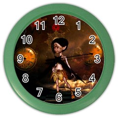 Steampunk, Cute Little Steampunk Girl In The Night With Clocks Color Wall Clocks by FantasyWorld7