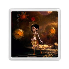 Steampunk, Cute Little Steampunk Girl In The Night With Clocks Memory Card Reader (square)  by FantasyWorld7