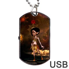 Steampunk, Cute Little Steampunk Girl In The Night With Clocks Dog Tag Usb Flash (two Sides) by FantasyWorld7