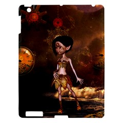 Steampunk, Cute Little Steampunk Girl In The Night With Clocks Apple Ipad 3/4 Hardshell Case by FantasyWorld7