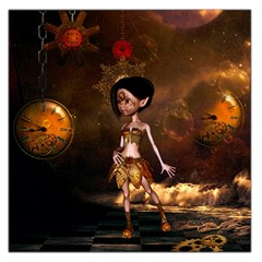 Steampunk, Cute Little Steampunk Girl In The Night With Clocks Large Satin Scarf (square)
