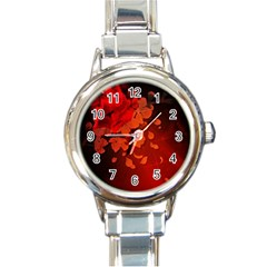 Cherry Blossom, Red Colors Round Italian Charm Watch by FantasyWorld7
