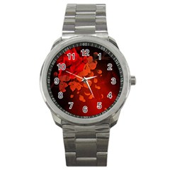 Cherry Blossom, Red Colors Sport Metal Watch by FantasyWorld7