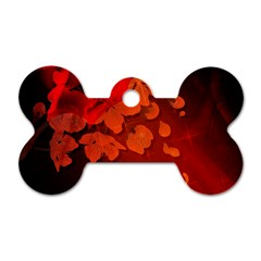 Cherry Blossom, Red Colors Dog Tag Bone (one Side) by FantasyWorld7
