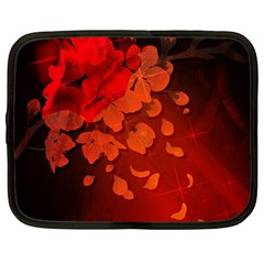 Cherry Blossom, Red Colors Netbook Case (large) by FantasyWorld7