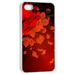 Cherry Blossom, Red Colors Apple Iphone 4/4s Seamless Case (white) by FantasyWorld7