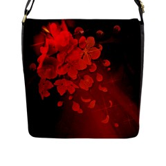 Cherry Blossom, Red Colors Flap Messenger Bag (l)  by FantasyWorld7