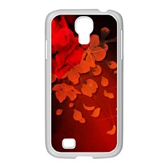 Cherry Blossom, Red Colors Samsung Galaxy S4 I9500/ I9505 Case (white) by FantasyWorld7