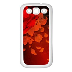 Cherry Blossom, Red Colors Samsung Galaxy S3 Back Case (white) by FantasyWorld7