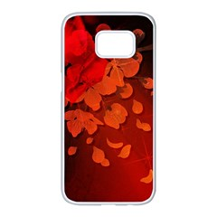 Cherry Blossom, Red Colors Samsung Galaxy S7 Edge White Seamless Case by FantasyWorld7