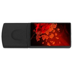 Cherry Blossom, Red Colors Rectangular Usb Flash Drive by FantasyWorld7