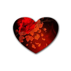 Cherry Blossom, Red Colors Heart Coaster (4 Pack)  by FantasyWorld7