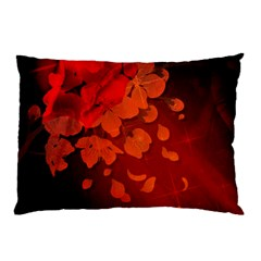 Cherry Blossom, Red Colors Pillow Case (two Sides) by FantasyWorld7