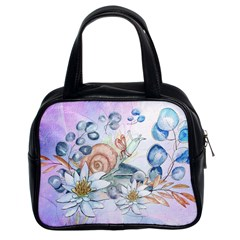 Snail And Waterlily, Watercolor Classic Handbags (2 Sides) by FantasyWorld7