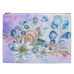 Snail And Waterlily, Watercolor Cosmetic Bag (xxl)  by FantasyWorld7