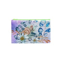 Snail And Waterlily, Watercolor Cosmetic Bag (xs) by FantasyWorld7