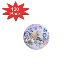 Snail And Waterlily, Watercolor 1  Mini Buttons (100 Pack)  by FantasyWorld7