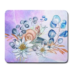 Snail And Waterlily, Watercolor Large Mousepads by FantasyWorld7