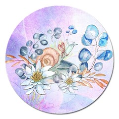 Snail And Waterlily, Watercolor Magnet 5  (round) by FantasyWorld7