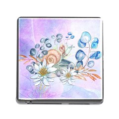 Snail And Waterlily, Watercolor Memory Card Reader (square) by FantasyWorld7