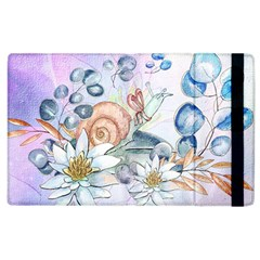 Snail And Waterlily, Watercolor Apple Ipad 3/4 Flip Case by FantasyWorld7