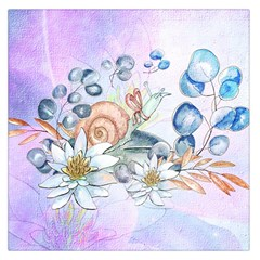 Snail And Waterlily, Watercolor Large Satin Scarf (square) by FantasyWorld7