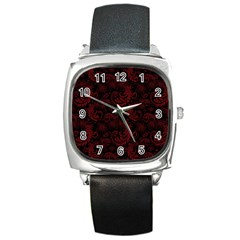 Dark Red Flourish Square Metal Watch by gatterwe