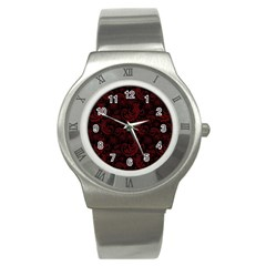 Dark Red Flourish Stainless Steel Watch by gatterwe