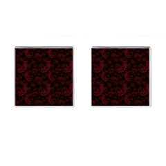 Dark Red Flourish Cufflinks (square) by gatterwe