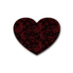 Dark Red Flourish Rubber Coaster (heart)  by gatterwe