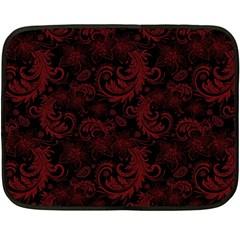 Dark Red Flourish Double Sided Fleece Blanket (mini)  by gatterwe