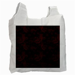 Dark Red Flourish Recycle Bag (two Side)  by gatterwe