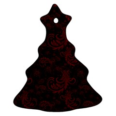 Dark Red Flourish Christmas Tree Ornament (two Sides) by gatterwe