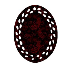 Dark Red Flourish Oval Filigree Ornament (two Sides) by gatterwe