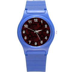 Dark Red Flourish Round Plastic Sport Watch (s) by gatterwe