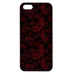 Dark Red Flourish Apple Iphone 5 Seamless Case (black) by gatterwe