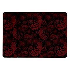 Dark Red Flourish Samsung Galaxy Tab 10 1  P7500 Flip Case by gatterwe