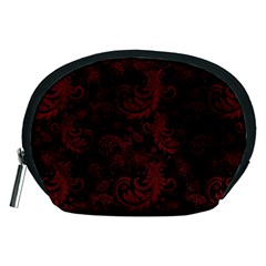 Dark Red Flourish Accessory Pouches (medium)  by gatterwe