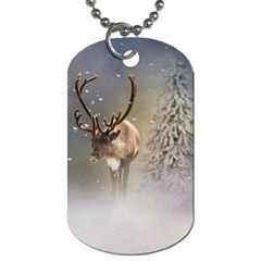 Santa Claus Reindeer In The Snow Dog Tag (two Sides) by gatterwe