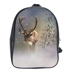Santa Claus Reindeer In The Snow School Bag (large) by gatterwe